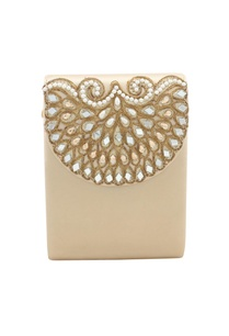 light-gold-bead-mirror-work-box-clutch