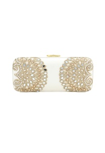 white-bead-mirror-work-box-clutch