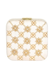 cream-bead-mirror-work-box-clutch