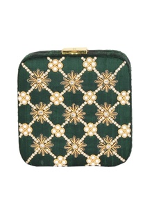bottle-green-bead-mirror-work-box-clutch