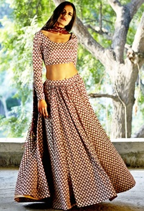 oxblood-printed-lehenga-and-crop-top