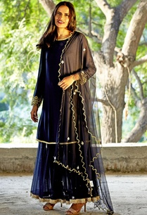 navy-blue-embellished-dress-with-churidar-dupatta