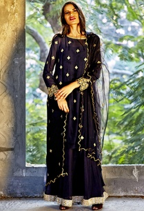 navy-blue-embellished-kaftan-dress-with-dupatta