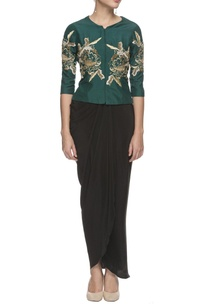 peacock-green-embroidered-top-draped-skirt