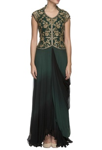 emerald-green-embroidered-draped-gown