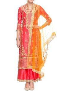 peachy-pink-embroidered-kurta-set