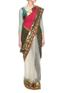 multi-colored-sari-with-sheer-net-detailing-with-a-blouse