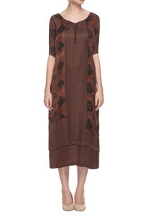 brown-tunic-with-attached-printed-jacket