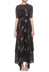 black-printed-asymmetric-dress-with-palazzo