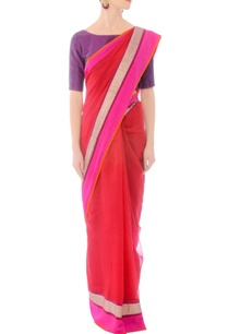 red-handwoven-sari-with-silver-striped-drape