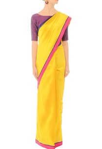 sunflower-yellow-handwoven-sari-with-striped-drape