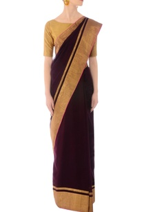 burgundy-handwoven-sari-with-golden-striped-drape