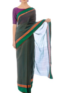 bottle-green-handwoven-sari-with-rose-gold-border