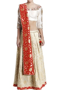 off-white-red-embroidered-lehenga-set