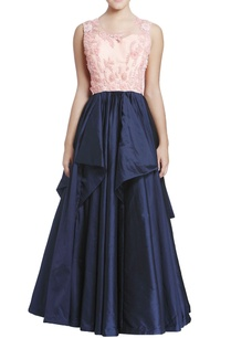 bubblegum-pink-midnight-blue-embroidered-gown