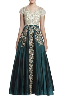 emerald-green-aqua-blue-embroidered-gown