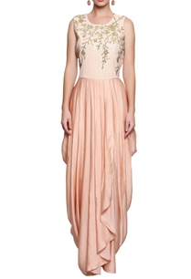 peach-embellished-dhoti-style-dress