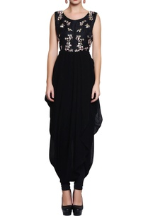 black-embroidered-dhoti-style-dress