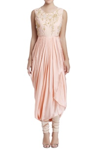 peach-embroidered-dhoti-style-dress-with-sheer-net-details