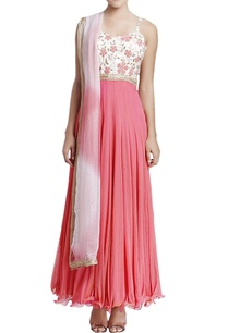 coral-pink-white-embroidered-anarkali-with-dupatta