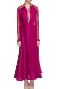 deep-pink-floral-thread-work-kurta-set