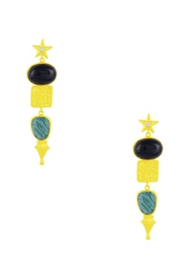 gold-finish-earrings-with-black-teal-stones