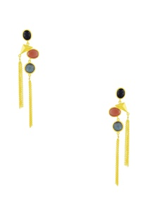 gold-finish-tasseled-drop-earrings