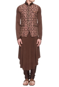 dusty-pink-embroidered-waistcoat-with-a-brown-kurta-churidar