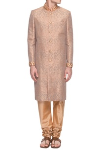 peachy-pink-embroidered-sherwani-with-churidar