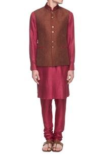 rani-pink-kurta-set-with-brown-embroidered-waistcoat