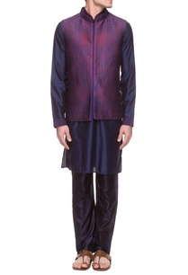 navy-blue-purple-pink-kurta-set-bandi-jacket