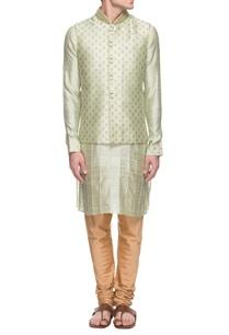 mint-green-gold-kurta-set-with-bandi