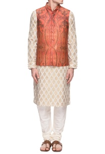 ivory-kurta-set-with-a-rust-orange-bandi-jacket