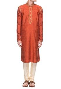 rust-orange-embroidered-kurta-set