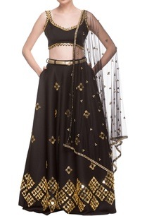 black-embellished-lehenga-set-with-belt
