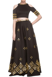 black-lehenga-with-cold-shoulder-blouse-belt
