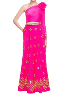 hot-pink-lehenga-one-shoulder-crop-top-with-belt