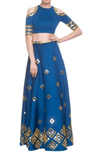 electric-blue-lehenga-with-cold-shoulder-blouse-belt