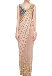 beige-embellished-sari-forest-green-blouse