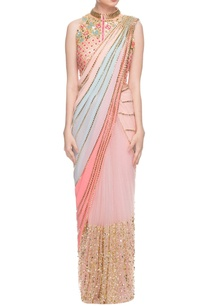 pastel-sari-with-peach-embellished-jacket-choli