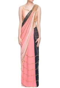 multi-colored-sari-peach-embellished-blouse
