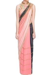 multi-colored-sari-peach-jacket-choli