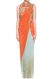 orange-sky-blue-sari-with-embellished-jacket-choli