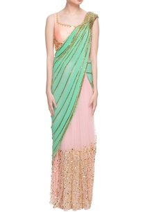 mint-green-pastel-pink-sari-with-peach-blouse
