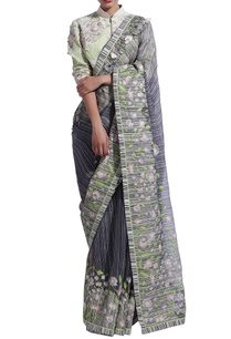 black-grey-striped-sari