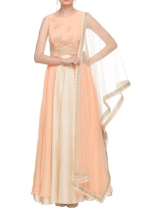 peach-high-low-kurta-with-cream-skirt-dupatta