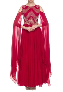 cherry-red-embroidered-gown-with-sleeve-detail