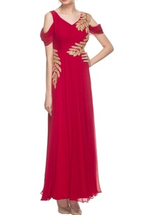 cherry-red-cold-shoulder-embroidered-gown
