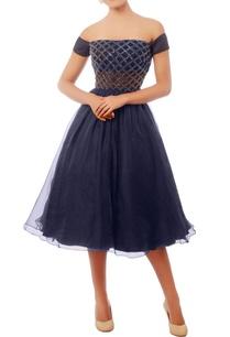navy-blue-embroidered-off-shoulder-dress