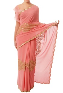 coral-pink-gold-embroidered-sari
